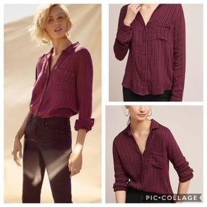 Cloth & Stone Button Up Shirt V Neck Boho M